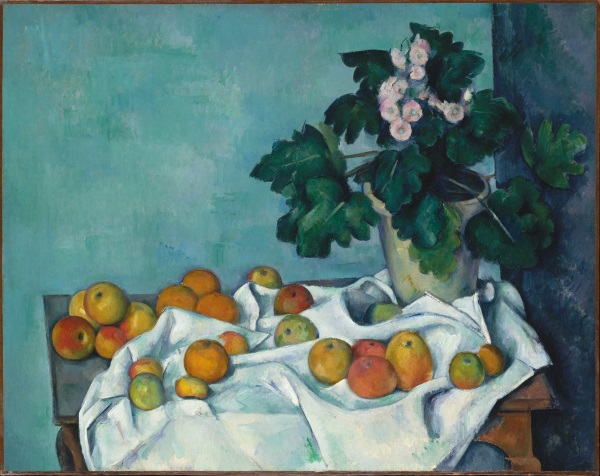 Cezanne: Still Life with Apples and a pot of Primroses, 1890 (excerpt)