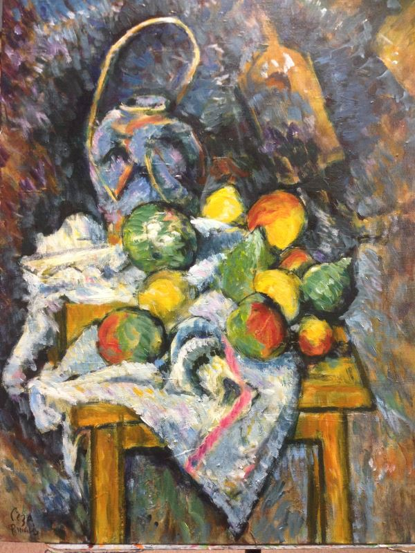 Cezanne: Still Life with Ginger Jar and Fruit, 1895 (excerpt): a hand painted interpretation by Sydney artist Peter Inglis.
