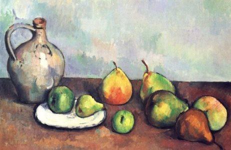 Cezanne: Still life with a jug and fruit, 1893