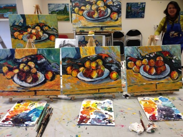 Paul Cezanne's 'Still Life with a plate of peaches, 1900', painted in one lesson by beginner students at Inglis Academy.