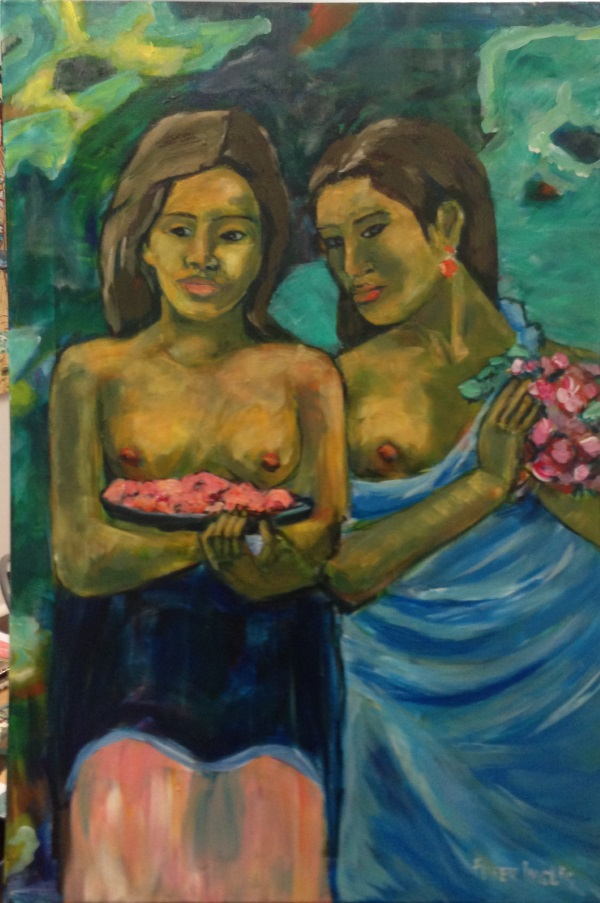 Gauguin, ' Two Tahitian Women ' painted by Sydney artist Peter Inglis.