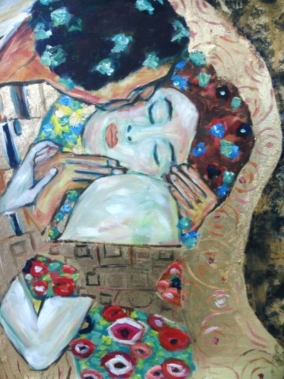 Detail from Klimt: 'The Kiss', painted by Peter Inglis - www.peteringlisart.com