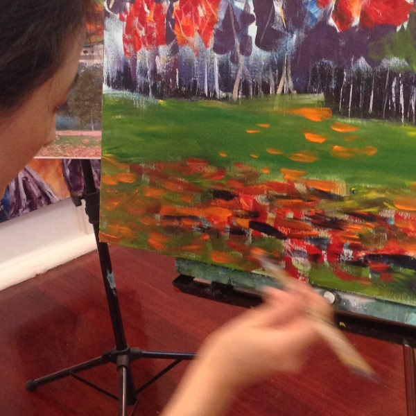 Student paintings at Inglis Academy: Sydney's Centennial Park - an Autumn painting