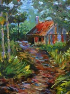 Bush Cabin (Fagan Park in Galston) - painting © 2017 Peter Inglis.