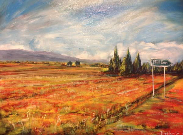 'Road to Hill End' painted by Sydney artist Peter Inglis.