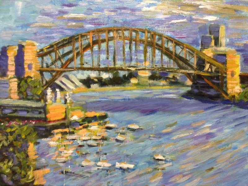 Lavender Bay 2015 by Peter Inglis. This view from Lavender Bay in Sydney Harbour contains the iconic Sydney Opera House and Sydney Harbour Bridge. Luna Park is at the lower left and Circular Quay, where the first fleet started the settlement of Sydney, is at top right.