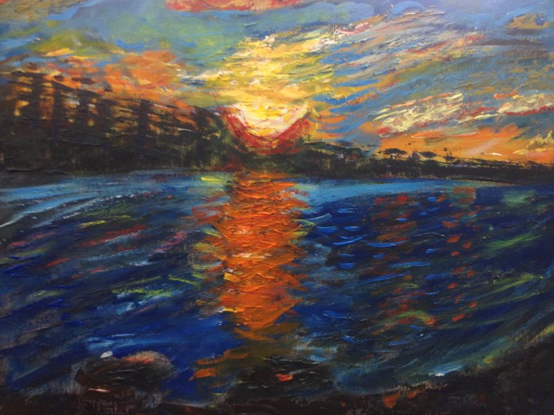 Student version of 'Sunset at Manly', an original painting by Peter Inglis ©2017