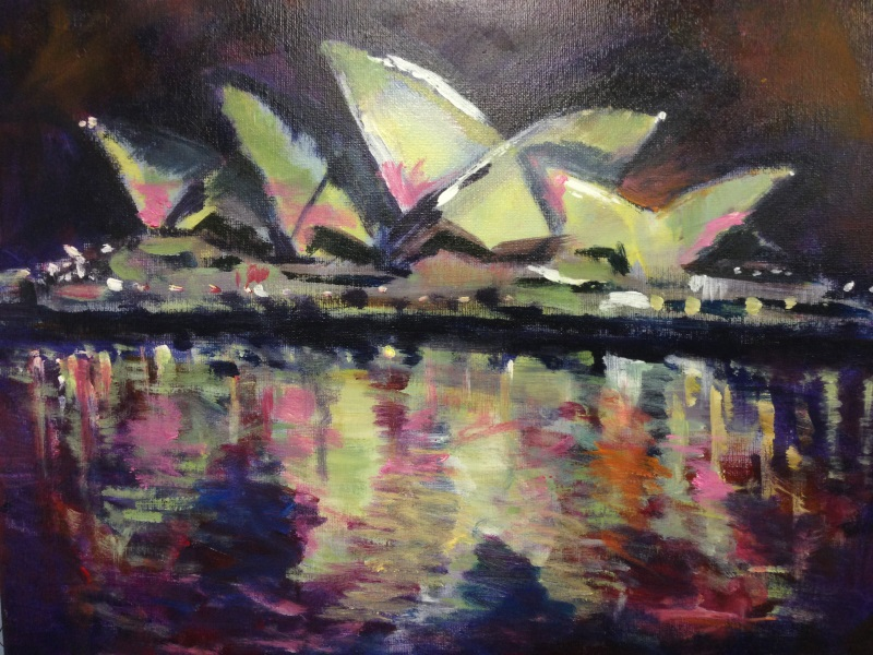 Sydney Opera House in Pink - An original Australian Landscape by Peter Inglis.