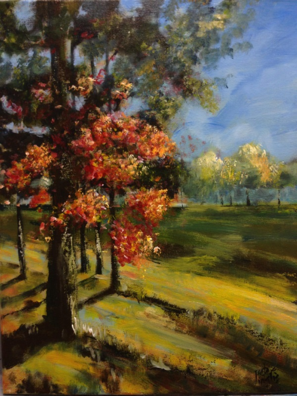 Parramatta Park: Autumn Sunset - painting and image ©2017 Peter Inglis - www.inglisacademy.com
