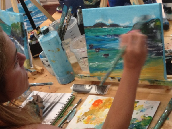 Painting a seascape at Inglis Academy, Shop 7/7-11 Clarke St. Crows Nest