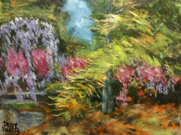 'Waterfall of Wisteria (Wisteria Gardens) - An original Australian Landscape by Peter Inglis.