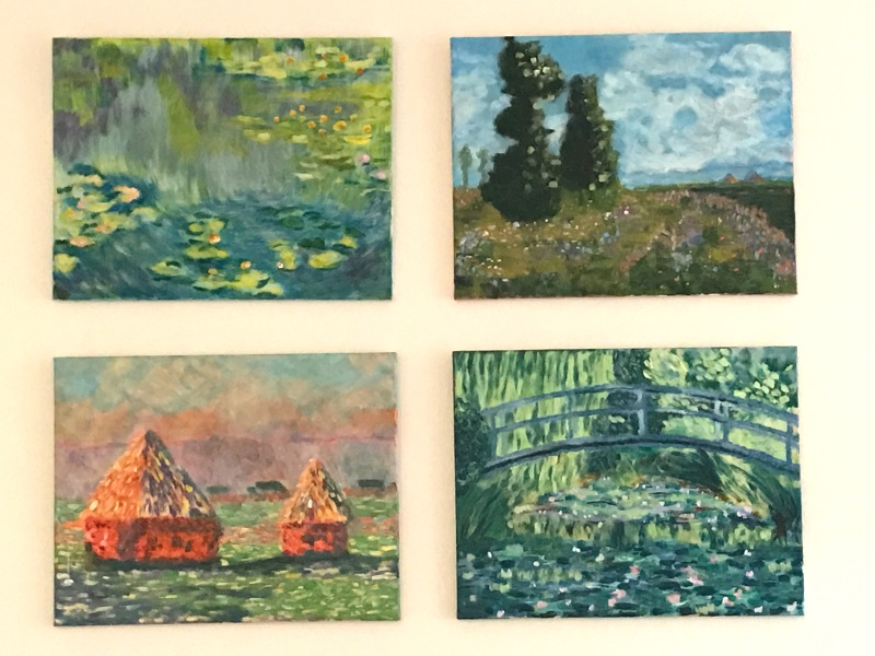 Diana's four Monets, all painted during her four coaching sessions at Inglis Academy.