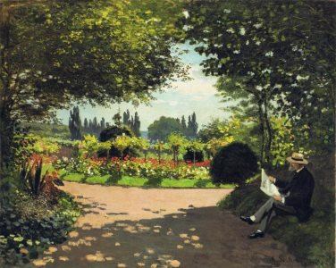 Monet: 'Adolphe Monet reading in the Garden, 1866'