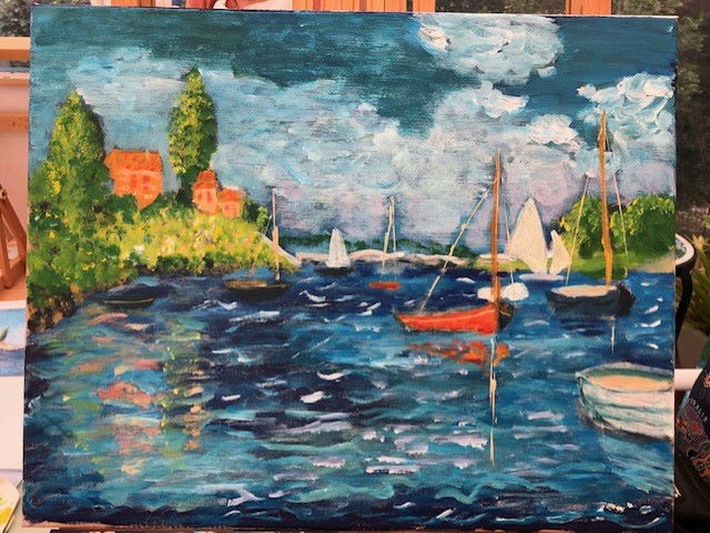 Monet's 'Boats at Argenteuil' created by Helen, using my book as guide.
