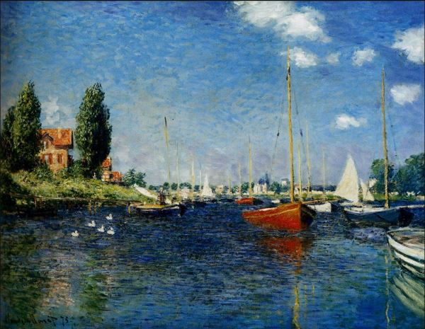Monet: Boats at Argenteuil, 1875 \\o// Learn this painting at Inglis Academy - www.inglisacademy.com