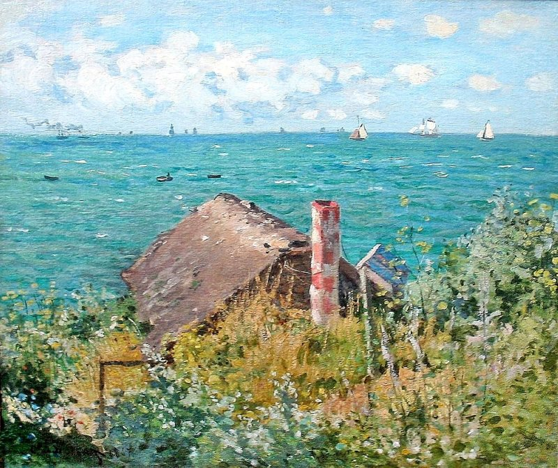 Monet: Cabin at Sainte-Adresse, 1867 \\o// Learn this painting at Inglis Academy - www.inglisacademy.com