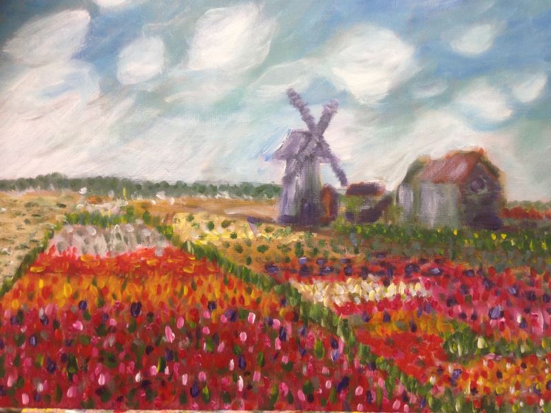Student paintings: Monet: Fields of Tulip With Rijnsburg Windmill, 1886