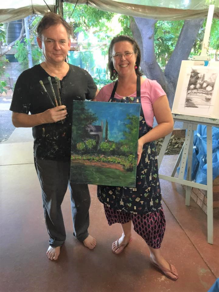 Monet: Garden in Bloom at Sainte-Addresse, 1866 | Student painting completed by Julia in my workshop at Zebra Rock Gallery in Kununnurra, The Kimberleys, West Australia in 2016