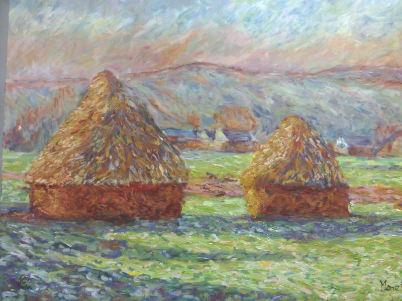 Monet: Haystacks: White Frost, sunrise, 1889 - an interpretation by Peter Inglis.