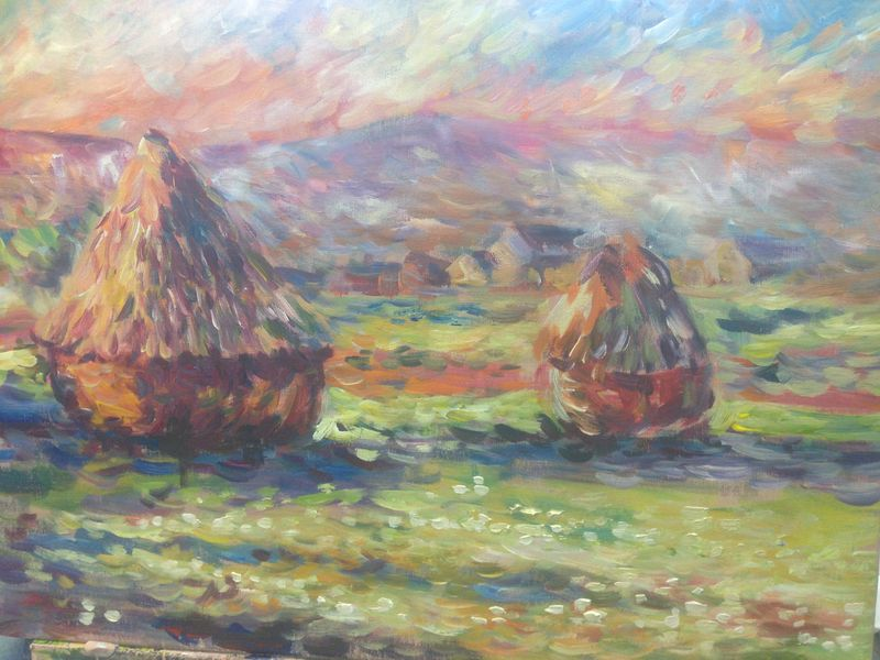 Monet: Haystacks: White Frost, sunrise, 1889 - student painting completed in one lesson at Inglis Academy - www.inglisacademy.com