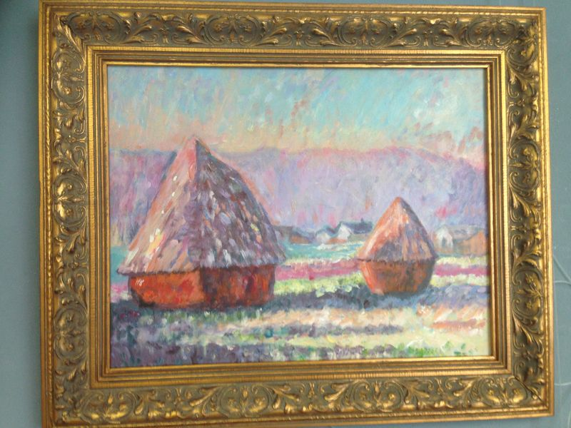 Monet: Haystacks: White Frost, sunrise, 1889 - student paintings completed in one lesson at Inglis Academy - www.inglisacademy.com