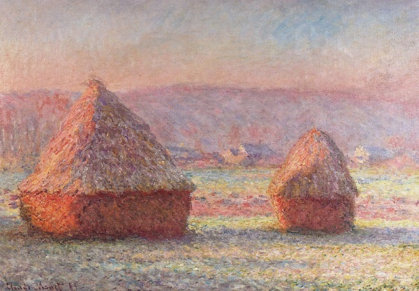 Monet: Haystacks: White Frost, sunrise, 1889