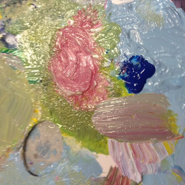 The student's palette shows the range of subtle pastel colours we learn to paint in this lesson.