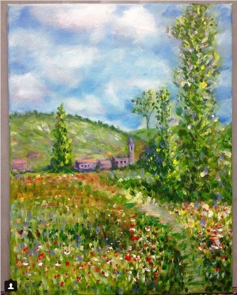 Monet: Lane in the Poppy Fields at Ile Saint Martin, 1880 - Student painting from Inglis Academy, completed in one lesson