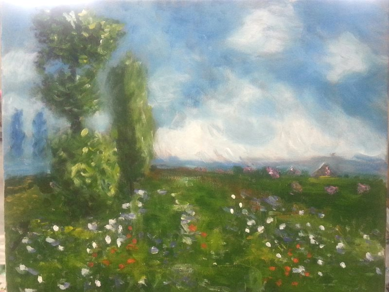 Monet: Meadow with Poplars as painted by Gerry in her first lesson at Inglis Academy