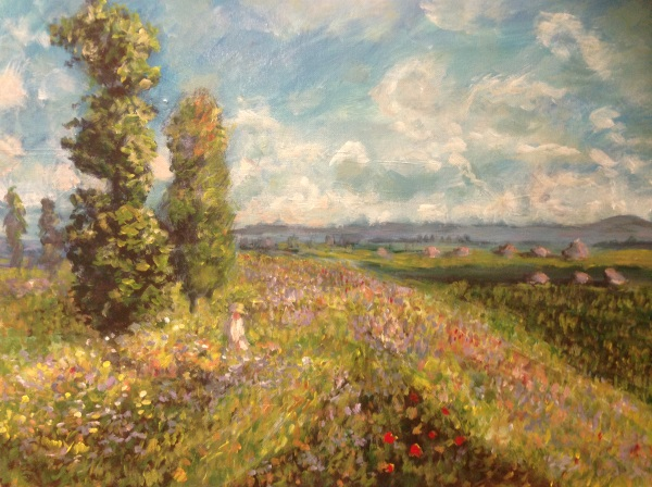 Monet: Meadow with Poplars - painted by Peter Inglis