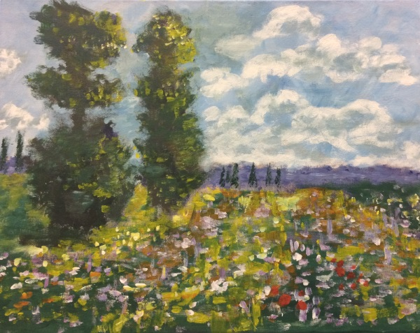 Monet's Meadow with Poplars, as painted by Carolin in her first lesson at Inglis Academy.