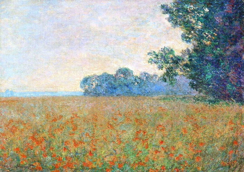 Monet: Oat and Poppy Field, 1890 \\o// Paint this at Inglis Academy - www.inglisacademy.com.
