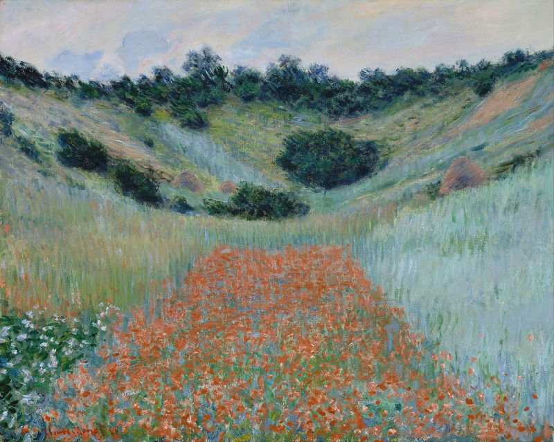 Monet: Poppy Field in a Hollow near Giverny, 1885 \\o// Paint this at Inglis Academy - www.inglisacademy.com.