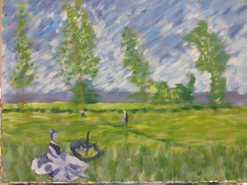Monet: Summer (Meadow at Bezons), 1874 - painted by a beginner student in their first lesson at Inglis Academy.