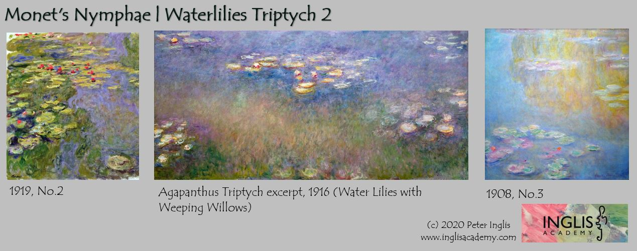 Monet's Nymphae | Water lilies: Triptych 1 | Paint this at Inglis Academy - www.inglisacademy.com | Image © Peter Inglis, 2020