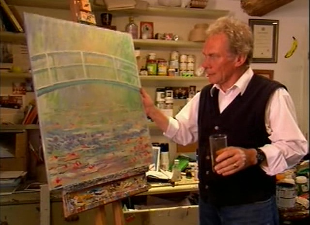 John Myatt with one of his versions of Monet's Japanese Bridge and Waterlilies.