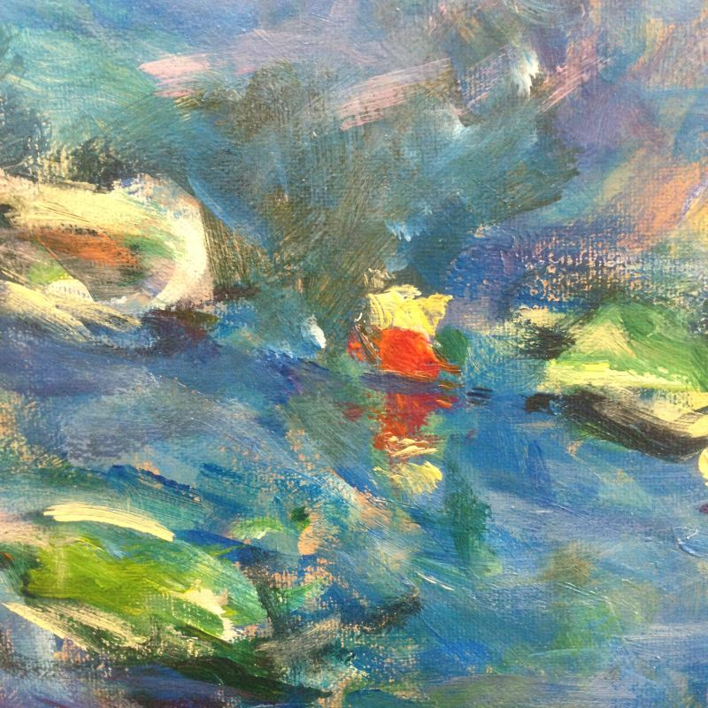 Detail from my interpretation of Monet: Water Lilies 1906, no.3 | From www.inglisacademy.com