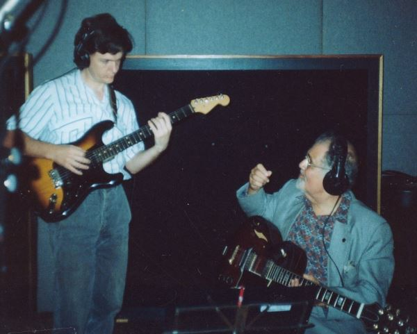 "Ike Isaacs and Peter Inglis recording Ian Cooper's ""Soundpost"" CD."