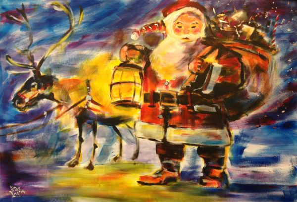 Santa Claus and Rudolph the Red-Nosed Reindeer -  painted by Peter Inglis.