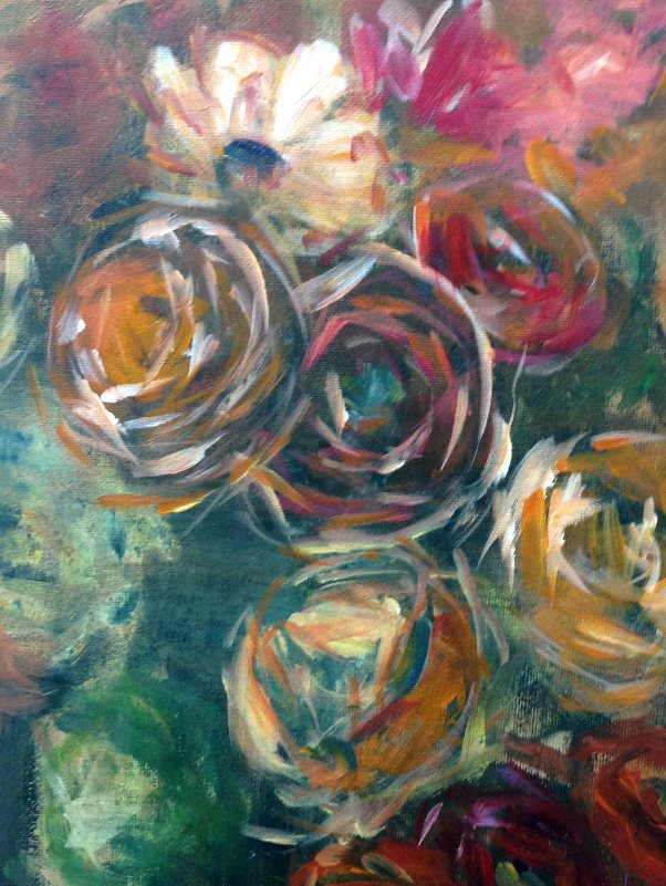 Student painting: Renoir: Still life with Roses, 1910