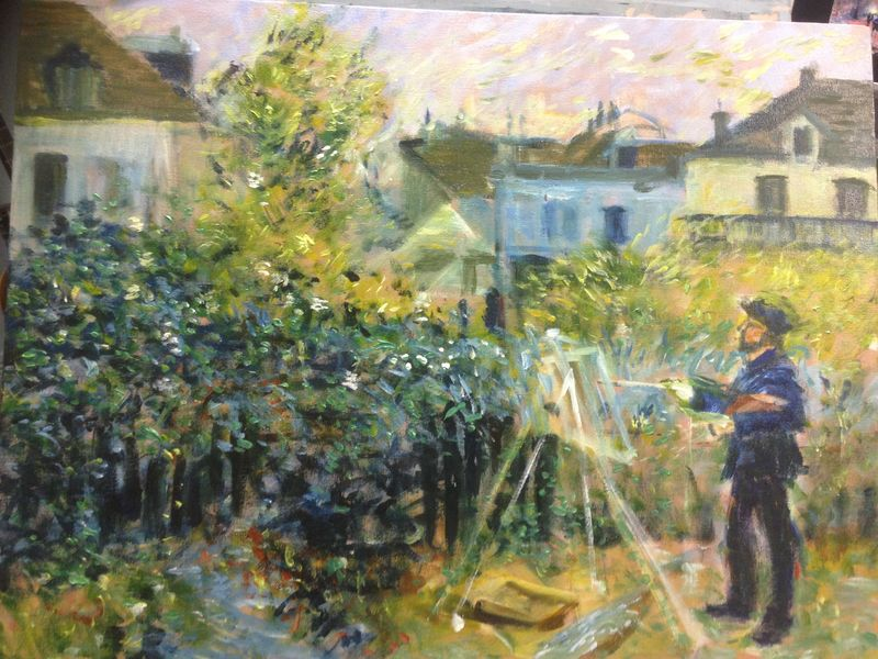 Renoir: Monet Painting in his Garden at Argenteuil, 1873 - painted by Peter Inglis - www.inglisacademy.com