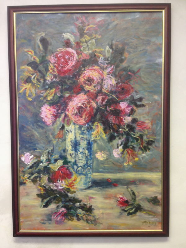 Renoir: Roses & Jasmine in a Delft Vase, 1890 - painted by Peter Inglis - www.inglisacademy.com