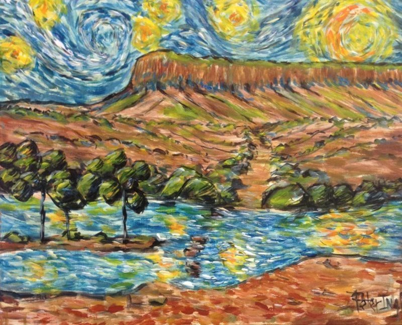 Pentecost River, the Kimberleys, painted in the style of Van Gogh by Peter Inglis.