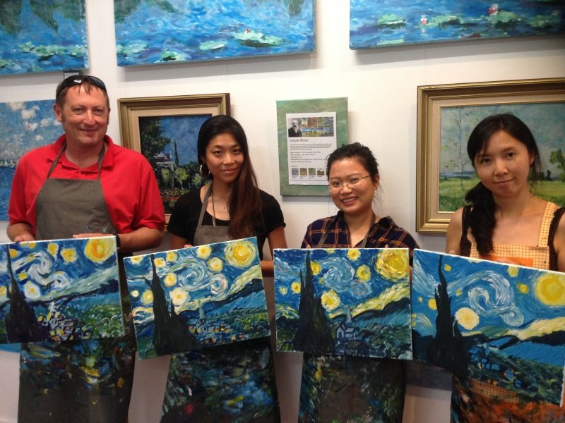 Van Gogh: Starry Night -  painted by a beginner in her first lesson at Inglis Academy!