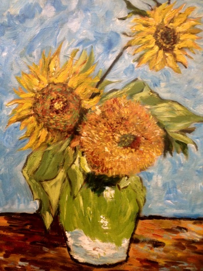 Variations on Van Gogh's 'Sunflowers' painted by Peter Inglis. Sydney, Australia.