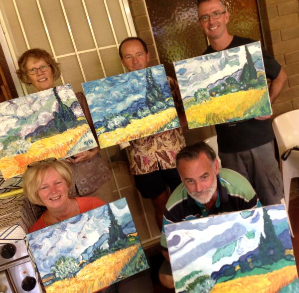 Allan and friends with their completed Van Gogh painting at Inglis Academy - www.inglisacademy.com