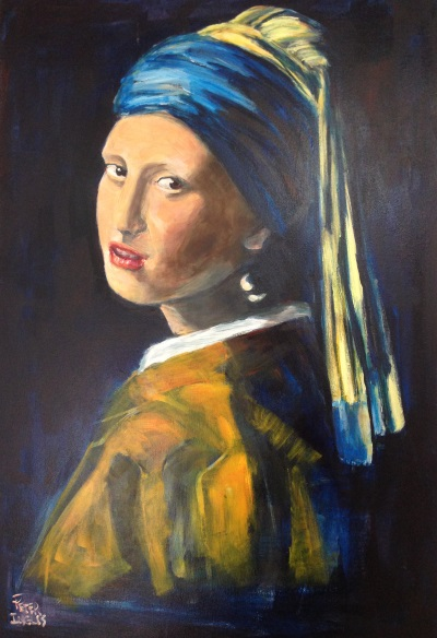 Vermeer: 'Girl with the Pearl Earring, 1665' painted by Sydney artist Peter Inglis.