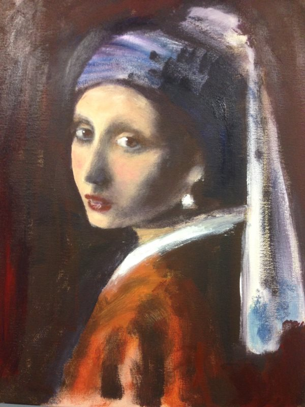 Vermeer: Girl with a Pearl Earring, 1665 - a student painting at Inglis Academy